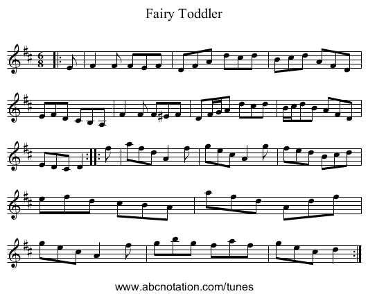 Fairy Toddler - staff notation