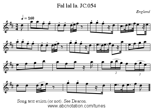 Fal lal la. JC.054 - staff notation