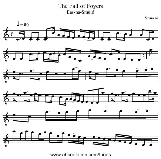Fall of Foyers, The - staff notation