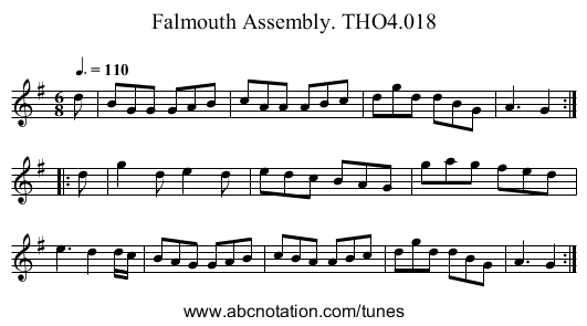 Falmouth Assembly. THO4.018 - staff notation