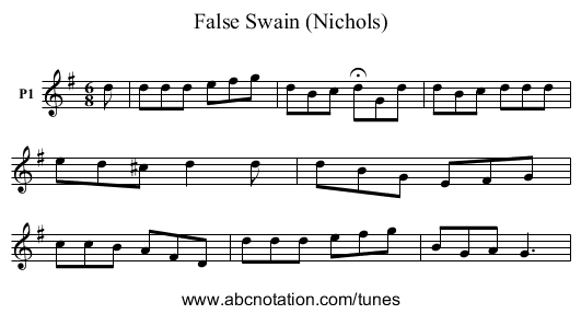 False Swain (Nichols) - staff notation