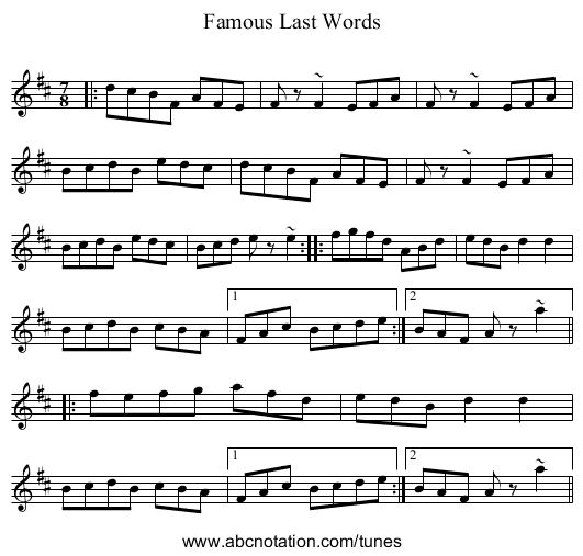 Famous Last Words - staff notation