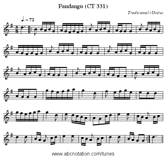 Fandangu (CT 331) - staff notation