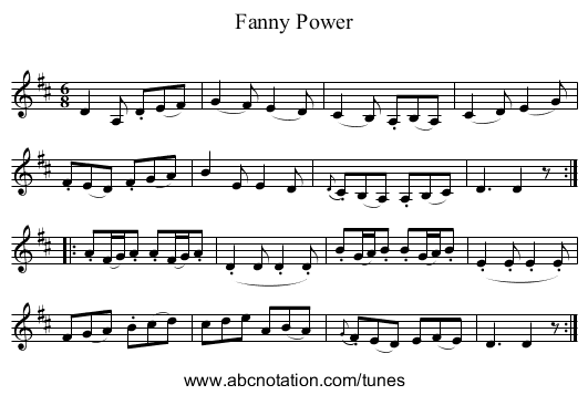Fanny Power - staff notation