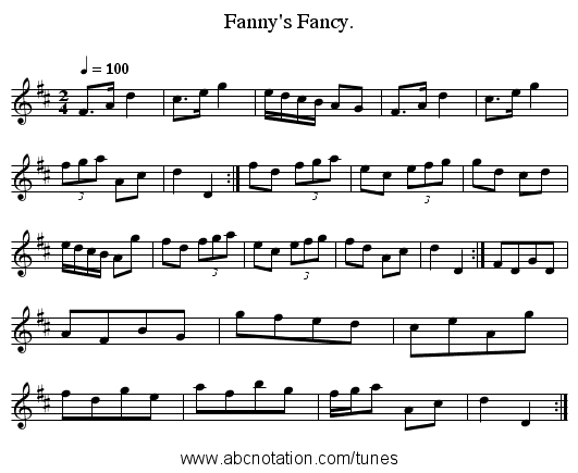 Fanny's Fancy. - staff notation