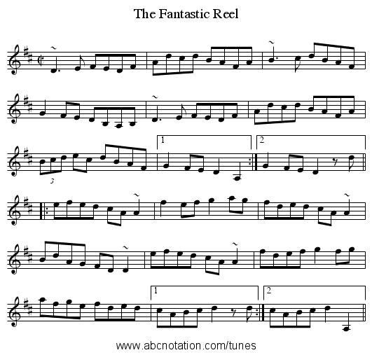 Fantastic Reel, The - staff notation