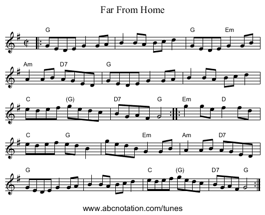 Far From Home - staff notation