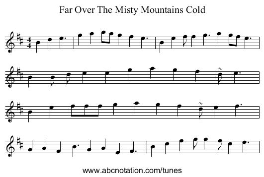 Far Over The Misty Mountains Cold - staff notation