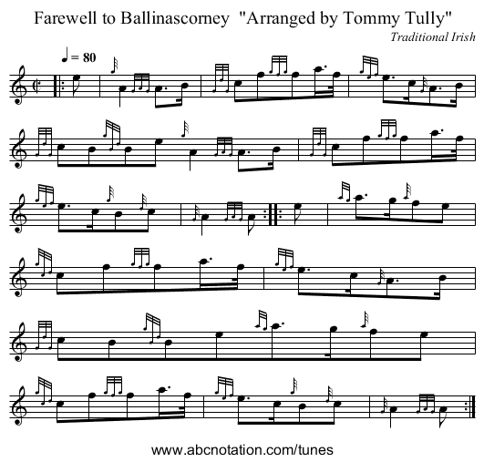 Farewell to Ballinascorney  Arranged by Tommy Tully - staff notation