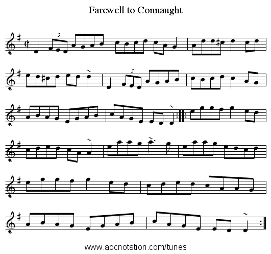 Farewell to Connaught - staff notation