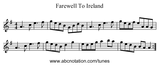 Farewell To Erin - staff notation