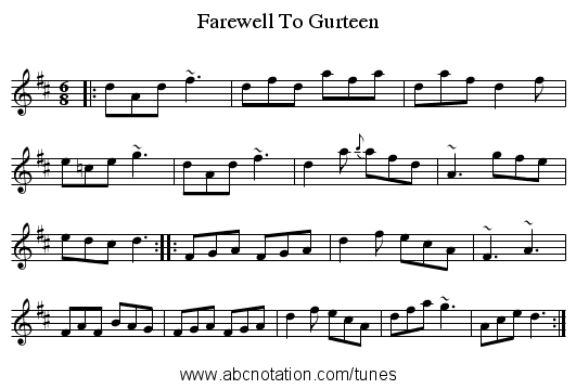 Farewell To Gurteen - staff notation