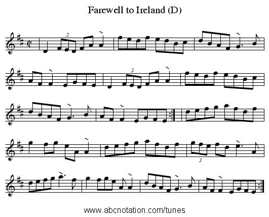Farewell to Ireland (D) - staff notation