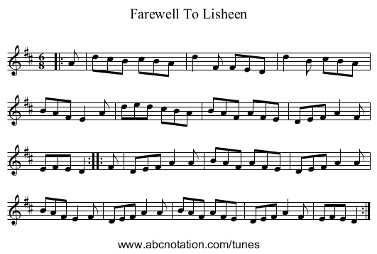 Farewell To Lisheen - staff notation