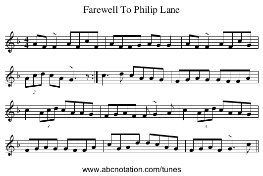 Farewell To Philip Lane - staff notation