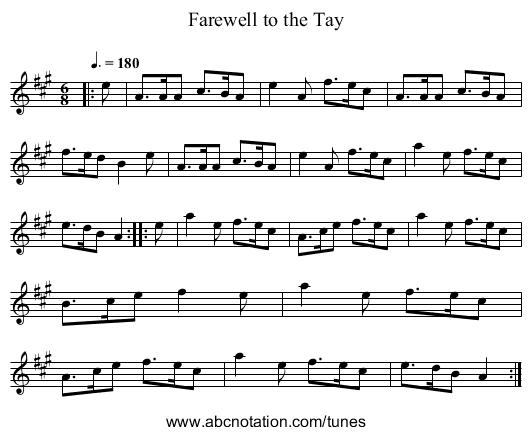 Farewell to the Tay - staff notation