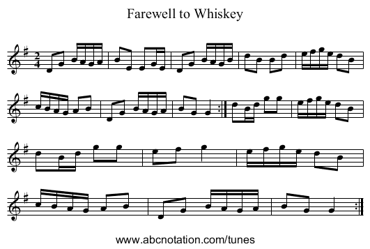 Farewell to Whiskey - staff notation