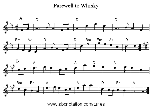 Farewell to Whisky - staff notation