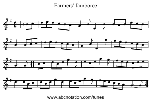 Farmers' Jamboree - staff notation