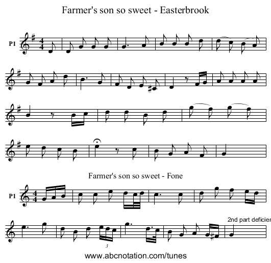 Farmer's son so sweet - Easterbrook - staff notation