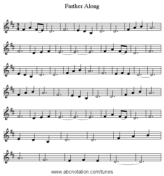 Farther Along - staff notation