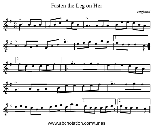 Fasten the Leg on Her - staff notation