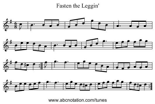 Fasten the Leggin' - staff notation
