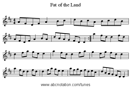 Fat of the Land - staff notation