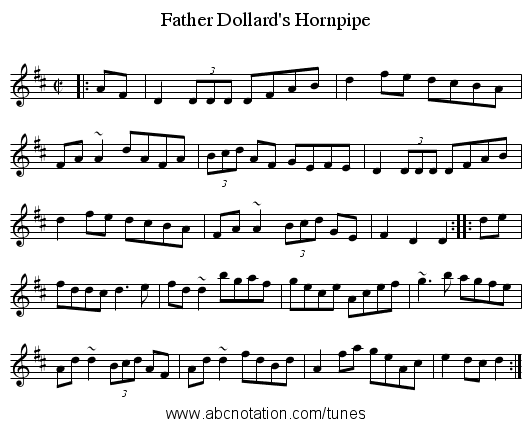 Father Dollard's Hornpipe - staff notation