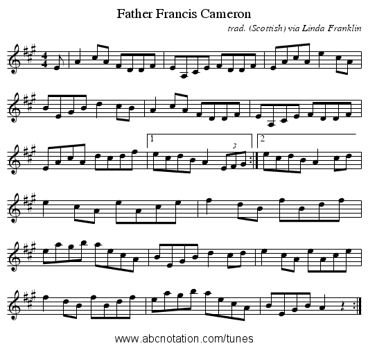 Father Francis Cameron - staff notation