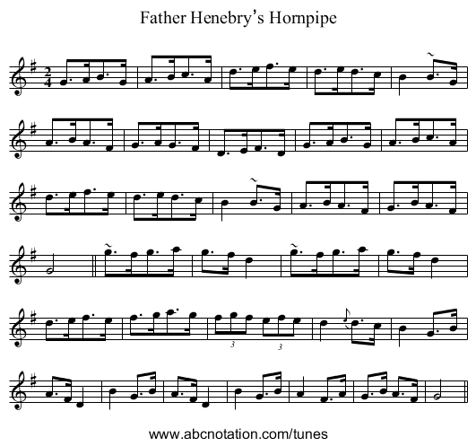Father Henebry's Hornpipe - staff notation