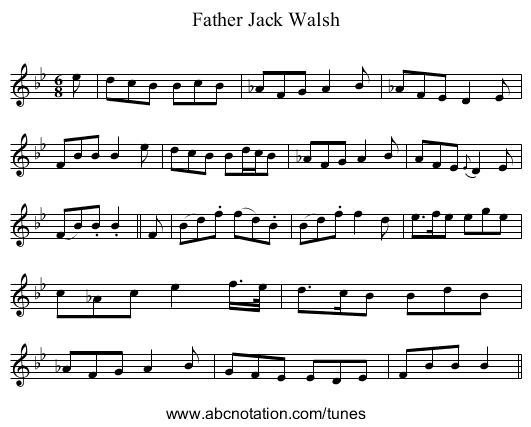 Father Jack Walsh - staff notation