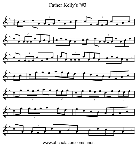 Father Kelly's #3 - staff notation