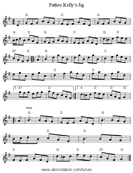 Father Kelly's Jig - staff notation
