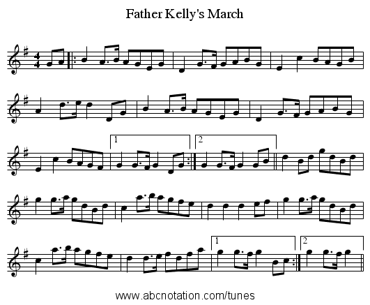 Father Kelly's March - staff notation