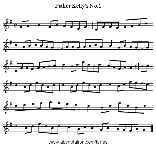 Father Kelly's No.1 - staff notation
