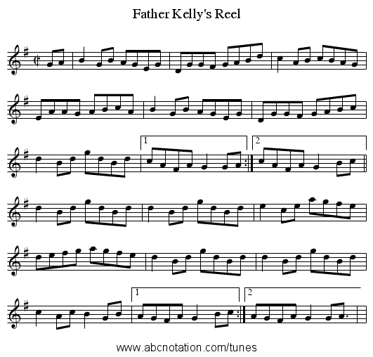 Father Kelly's Reel - staff notation