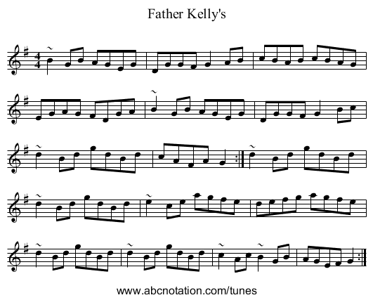 Father Kelly's - staff notation
