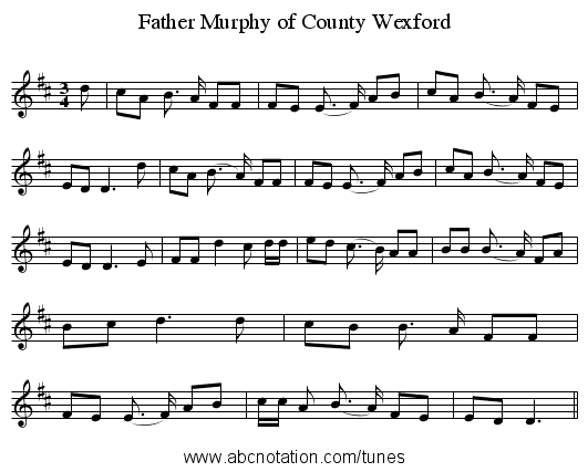 Father Murphy of County Wexford - staff notation