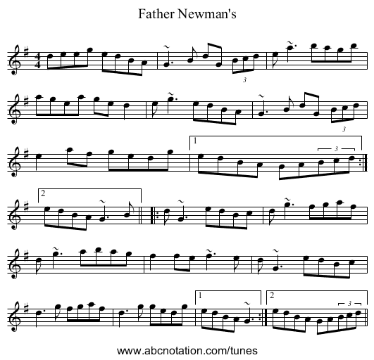 Father Newman's - staff notation