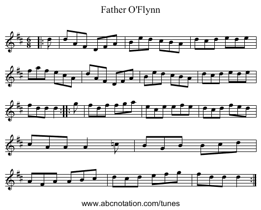 Father O'Flynn - staff notation