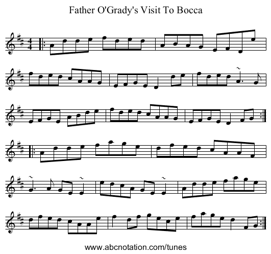 Father O'Grady's Visit To Bocca - staff notation