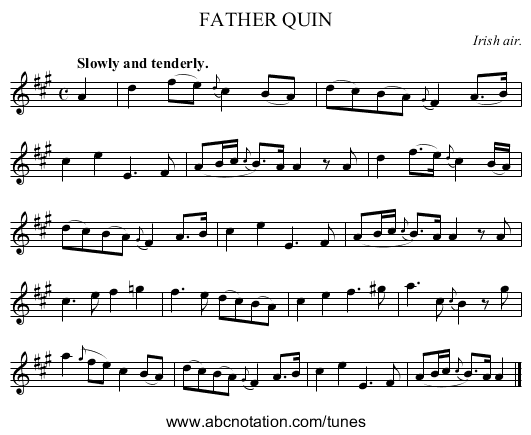 FATHER QUIN - staff notation