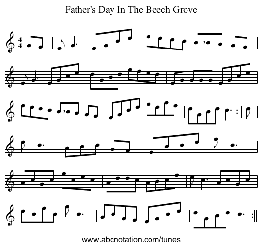 Father's Day In The Beech Grove - staff notation