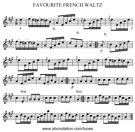 FAVOURITE FRENCH WALTZ - staff notation