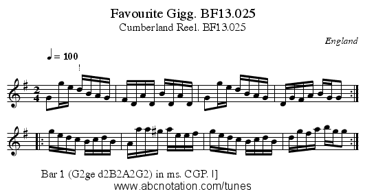 Favourite Gigg. BF13.025 - staff notation