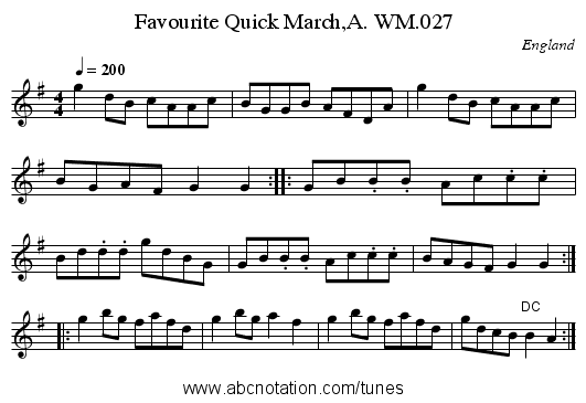 Favourite Quick March,A. WM.027 - staff notation
