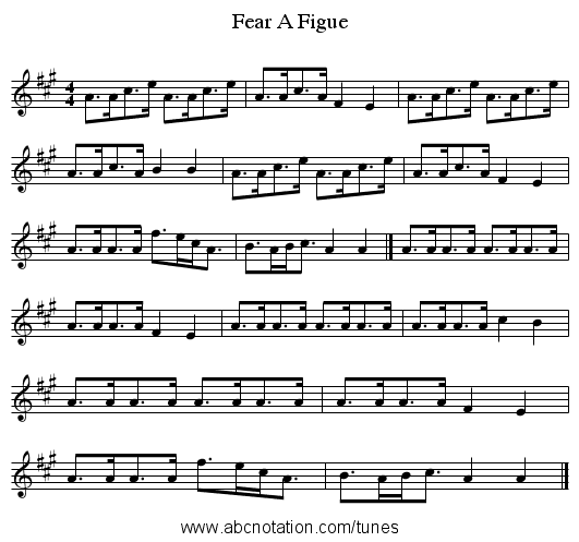 Fear A Figue - staff notation