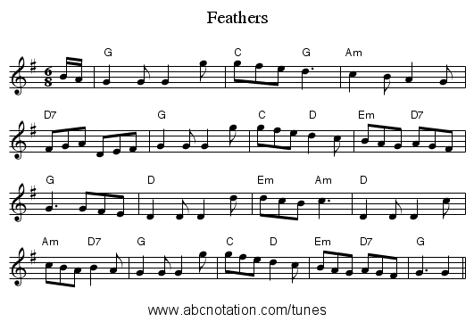 Feathers - staff notation