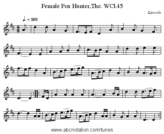 Female Fox Hunter,The. WCl.45 - staff notation